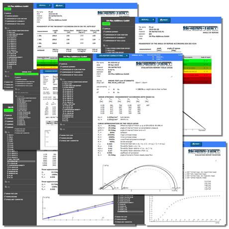 Messungen und Auswertungen von physikalischen Eigenschaften von Pulvern und Schüttgütern